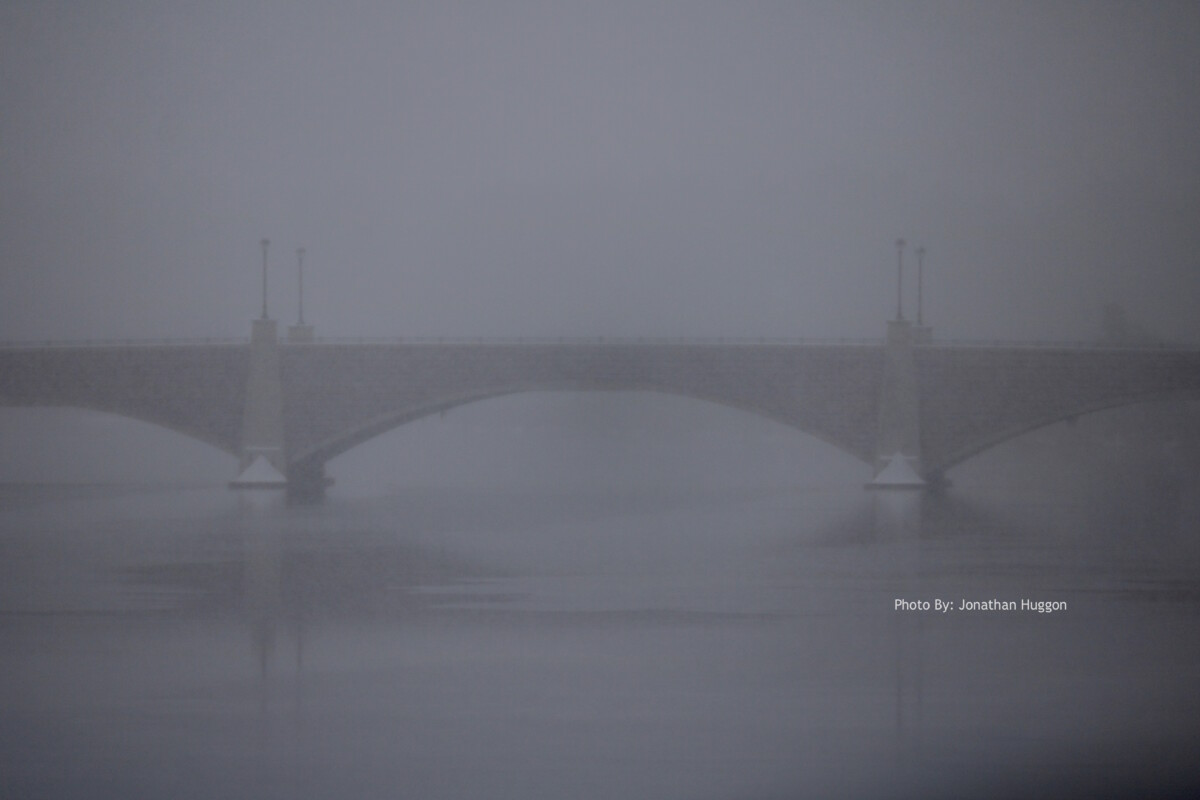 Berkley-Taunton Bridge with Fog. Photo by Jonathan Huggon.